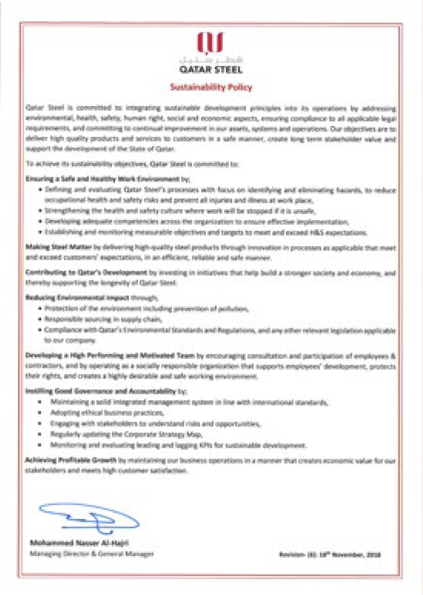Sustanibility Policy Certificate